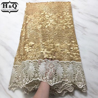2018 Golden African Net Lace Fabric With Stones Embroidery French Tulle Lace Fabric With Beads 5 Yards Good Price For Lace Dress