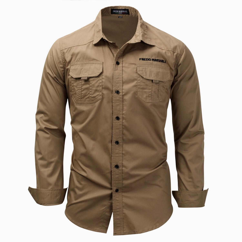 New big size mens long sleeve Lapel shirt soild color cotton casual Pocket Shirt male spring business shirt