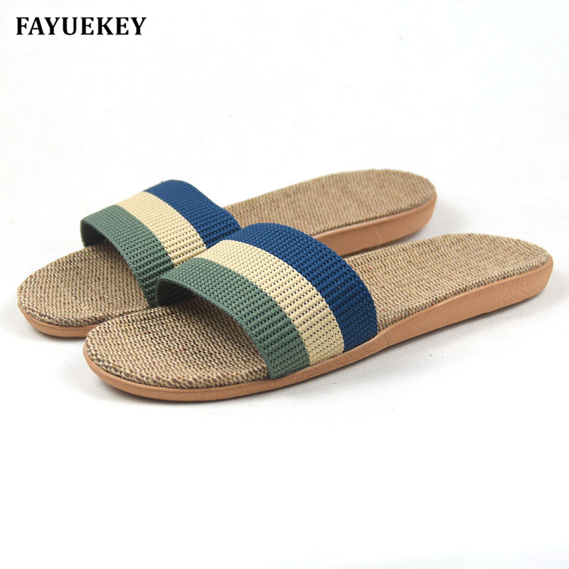 FAYUEKEY Fashion Summer Home Striped Linen Non-slip Breathable Slippers Men Indoor\Floor Beach Boys Open-Toed Slippers Shoes fayuekey 2018 new fashion summer home linen non slip breathable slippers men indoor floor outdoor beach boys flat slides shoes