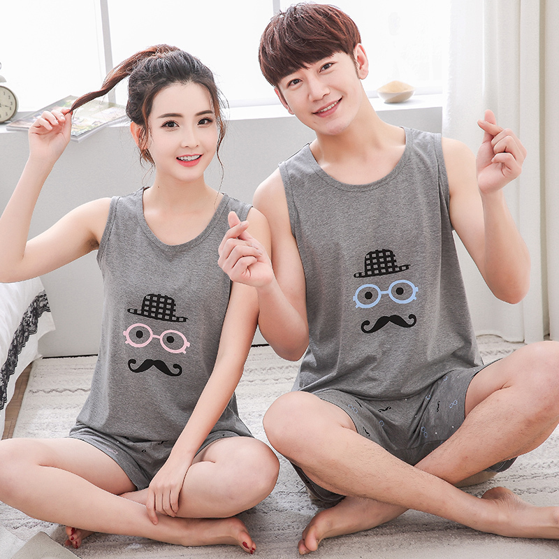 Casual Couple   Pajama     Sets   For Women Men Cotton Cartoon   Pajamas   Pijama Shorts Summer Sleepwear Pyjama Plus Size 4XL Nightwear