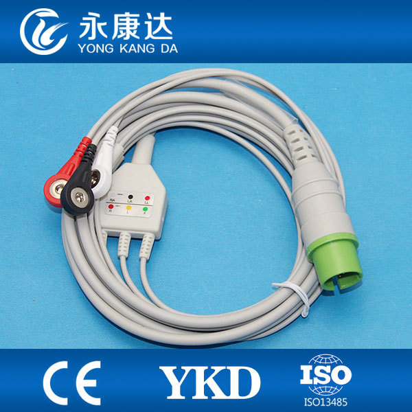 One piece 17Pin 3leads ECG cable and leadwires with snap for Spacelabs,AHA,CE&ISO13485