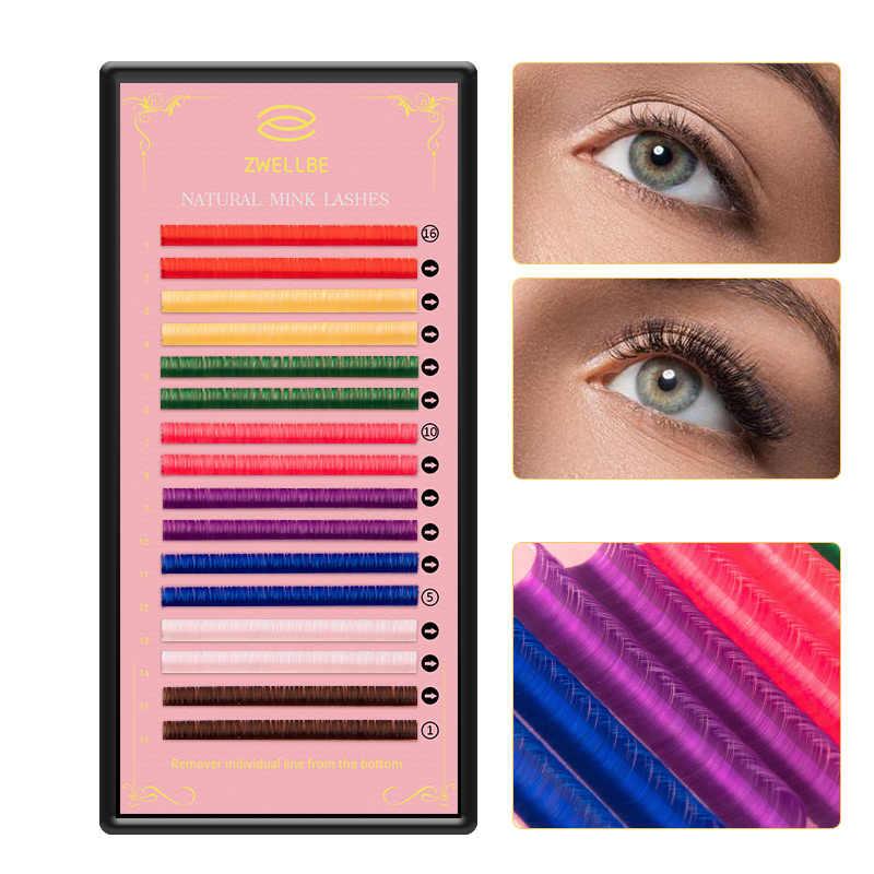 Zwellbe 16 שורות 8 צבעים צבעוני ריס הארכת 8-15mm פו מינק צבע ריסים צבעוני ריסים ריס הארכת איפור כלי