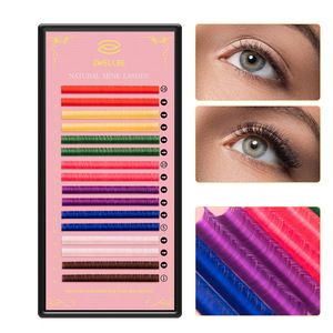 Image 1 - zwellbe 16Rows 8 Colors Colored Eyelash Extension 8 15mm Faux Mink Color Eyelashes Colorful Cilia Eyelash Extension Makeup Tool
