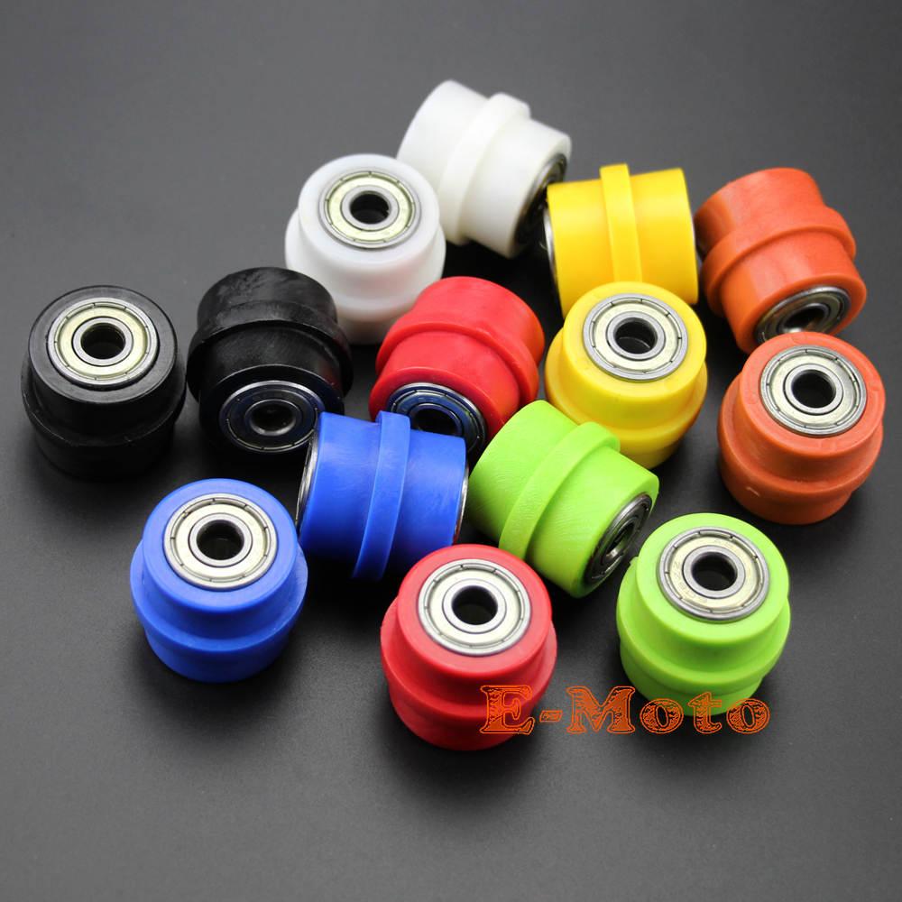 2 x 10mm RIDGED PIT BIKE Drive Chain Roller Tensioner Wheel Guide 50cc 110cc 125cc PITBIKE image