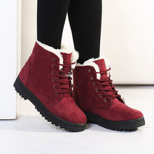Fast delivery Snow boots 2018 fashion warm heels ankle boots women winter shoes Lace-Up plus size 35-44 for Female
