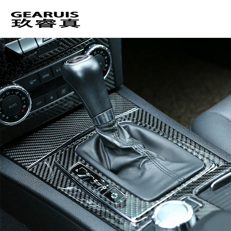 Car Styling Carbon Fiber Center Console Gear Shift Panel Cover Stickers Trim For Mercedes Benz C Class W204 Interior Accessories