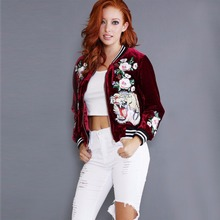 New Fashion Women's Velvet Bomber Jacket Tiger Floral Embroidered Outwear Tops F