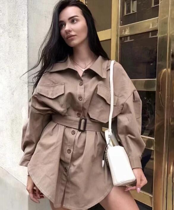 Women Long Shirt 2019 Spring Summer Cotton Shirts Solid Color Boyfriend Style Tops High Street Fashion 2