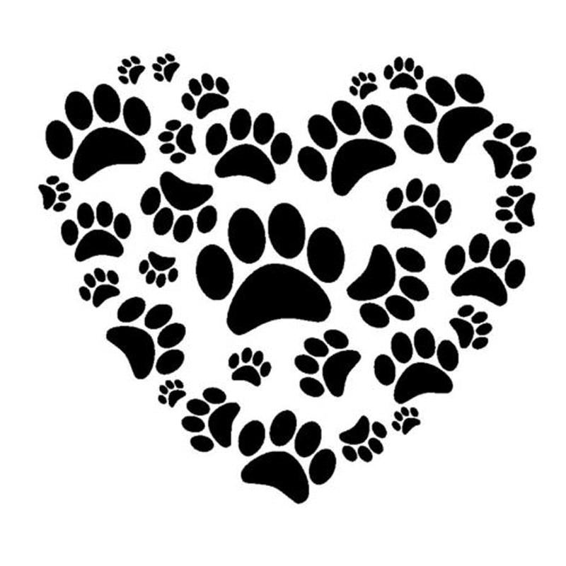 12.7*11.5CM Love Paw Print Dog Car Windows Decorative Stickers Creative Fashion Motorcycle Accessories C6-0999