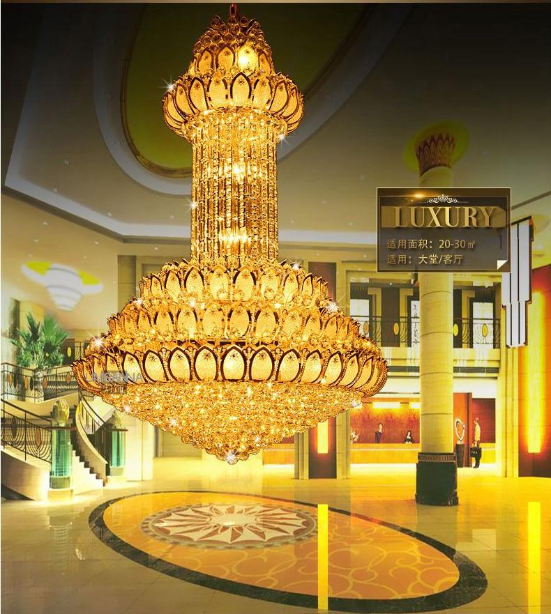 Candelier Kristal LED Moden Emas Lotus Bunga Candelier Pencahayaan - Pencahayaan dalaman - Foto 5