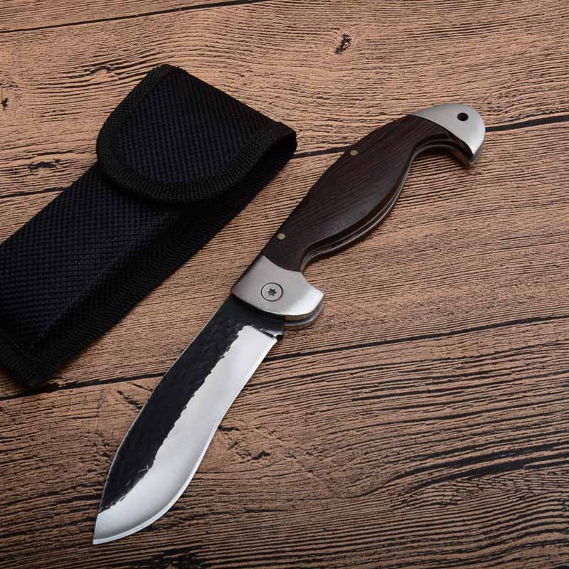 Fighting portable tactical folding knife Color wood handle Duanda blade camping survival Pocket knives outdoor hunting Tools EDC image