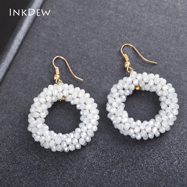 Inkdew Earrings Multicolor Handmade Threading Beaded Round Shape Crystal Drop For Women Gift Oorbellen