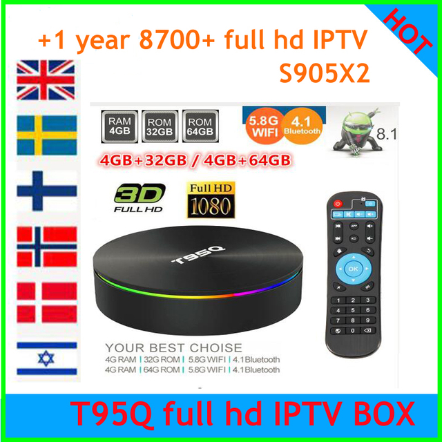 US $53 8 |2019 popular T95Q S905X2 in stock Quad Core tv box Android 8 1  2 4G 5G WiFi USB3 0 with 8700+Channels euro IPTV full hd code-in Set-top