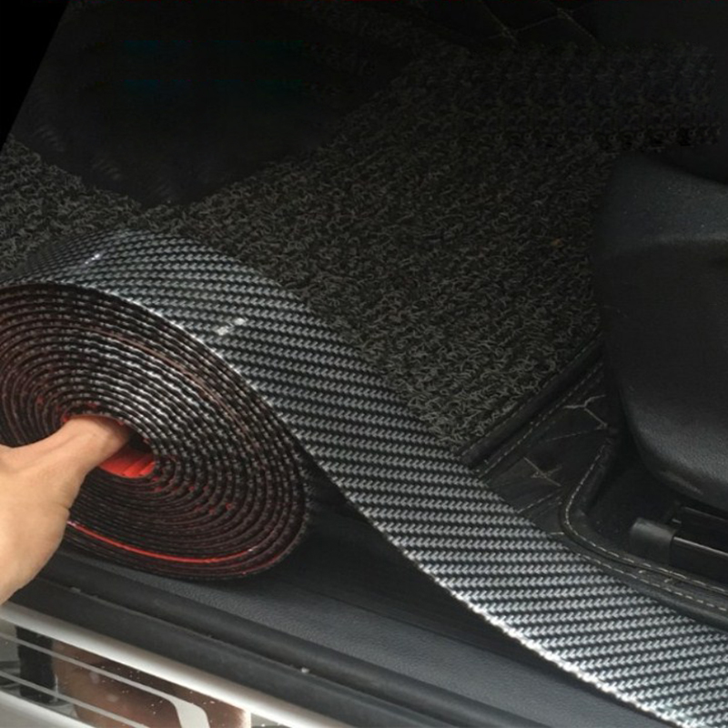 Carbon Fiber Rubber Moulding Strip Soft Black Trim Bumper Strip DIY Door Sill Protector Edge Guard Car Stickers Car Styling 1M(China)