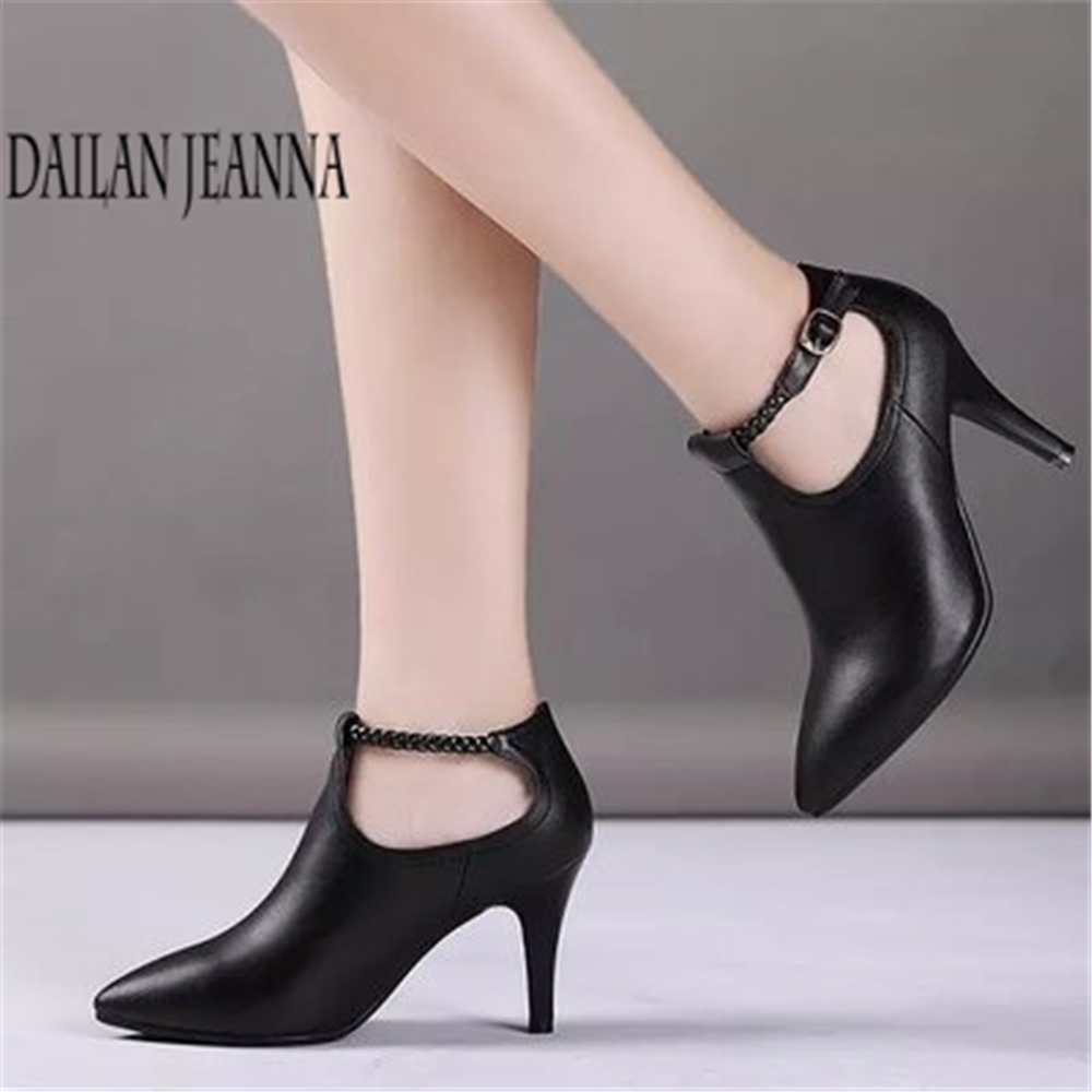 2018 spring and autumn women's shoes deep mouth single shoes women's thin heel pointed high heel leather work shoes wedding title=
