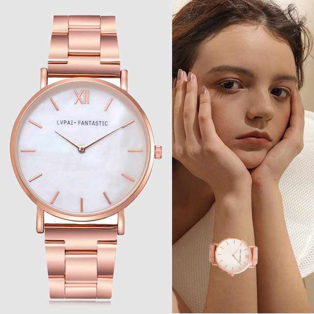 Lvpai Watch Women Fashion Rose Gold Stainless Steel Ladies Watch Luxury Marble D