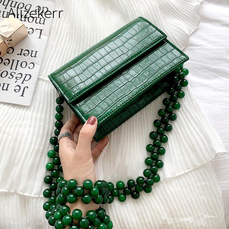 Contas de Corrente Padrão de Crocodilo Bolsa de Ombro Padrão de Pedra Bolsa de Moda Novo Coreano Verde Mensageiro Pequeno Quadrado Senhoras