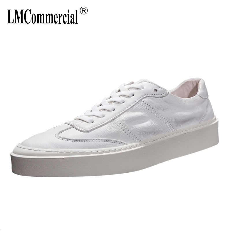 Mens white sneakers casual shoes Korean version all match cowhide designer shoes men high quality Leisure