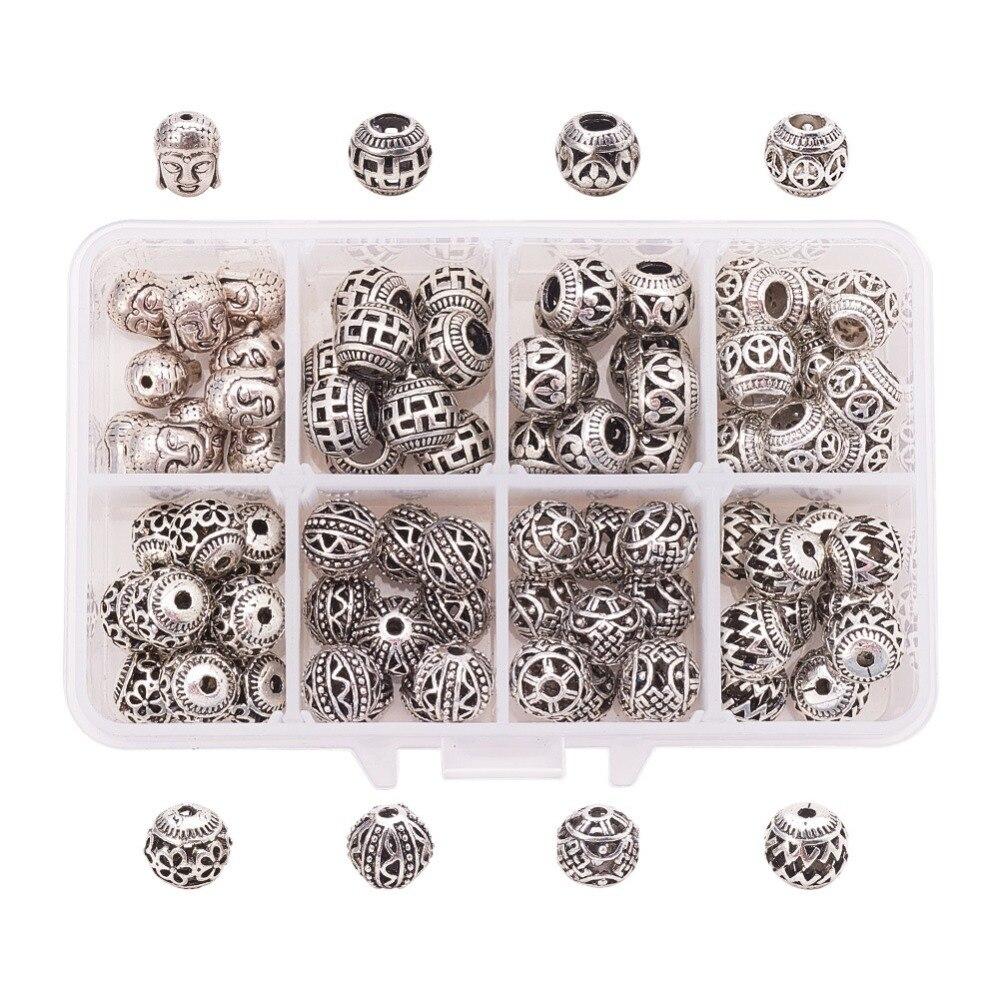 Rétro creux argent alliage trou perles bracelet diy boucles d'oreilles bijoux bricolage à la main accessoires de vêtements