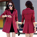 2017 spring and autumn new Korean Girls long paragraph Slim double-breasted coat large size women's casual jackets