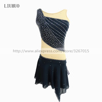 Figure Skating Dress Women's Girls' Ice Skating Dress Dark grey round neck sleeveless style Shiny rhinestone Roller skating