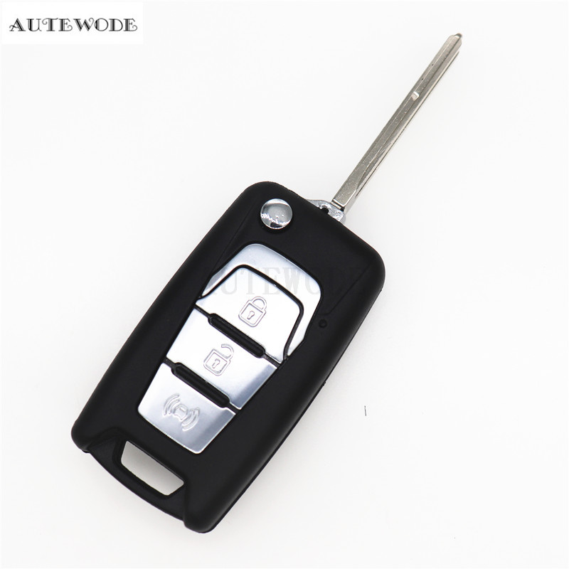 AUTEWODE New Flip Folding Remote Car Key Shell For SsangYong Korando New Actyon C200 2016 2017 Case Fob 3 Buttons 1PC image