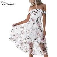 Off Shoulder Flower Print Mesh Summer Dress Women Elegant High Waist Mini Dress Slim Waist Swing