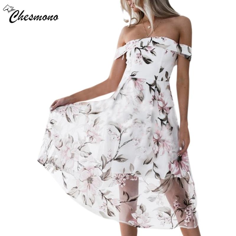 a7c8c1468e Off shoulder flower print mesh summer dress women Elegant high waist mini  dress Slim Waist Swing Cocktail party dresses spring