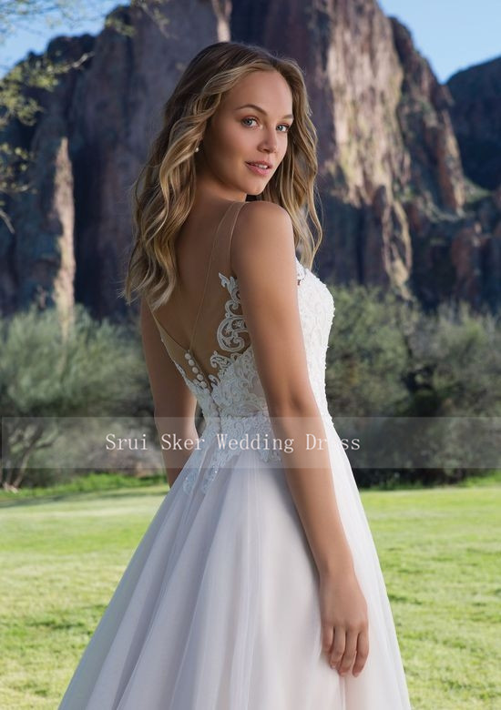 Image 4 - Hot Sale Tulle Wedding Dress A Line Gown with Scoop Lace Neckline Sleeveless Bridal Gowns 2019 V Back-in Wedding Dresses from Weddings & Events