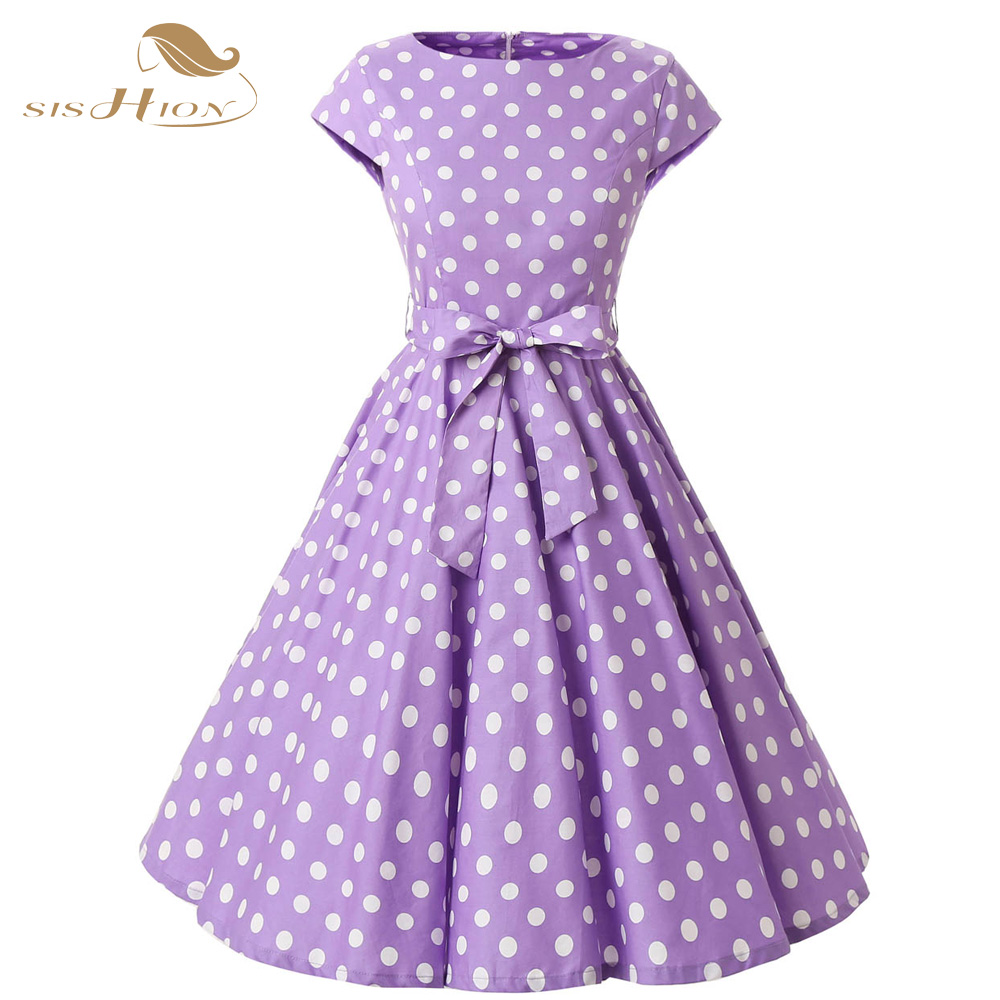 29f86c880c9 US $28.36 10% OFF|SISHION Women Elegant Vintage Retro Polka Dot Dress  Purple Lilac Cap Sleeve Plus Size Summer Dress Feminino Vestidos VD0229-in  ...