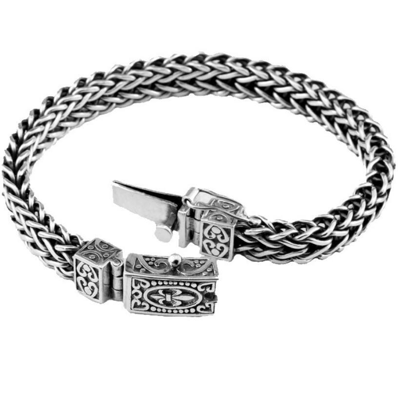 Main 925 sterling bracelet en argent Hommes de loquet Cru Thai argent d'origine personnalisé bracelet
