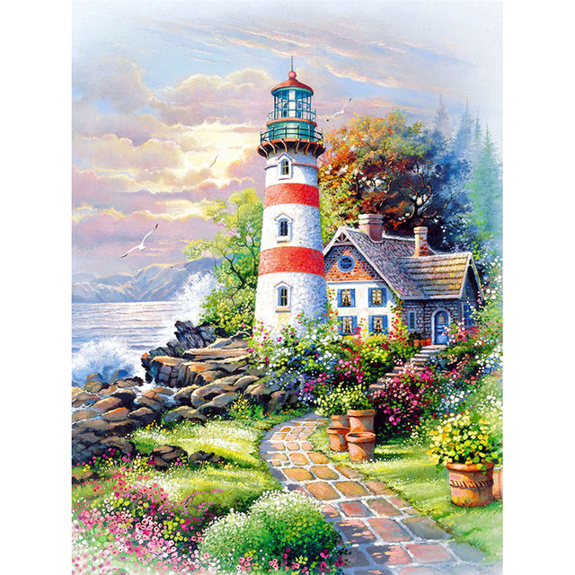 full square drill diamond embroidery seaside lighthouse 5d diy round painting Cross Stitch Rhinestone mosaic decor in Diamond Painting Cross Stitch from Home Garden