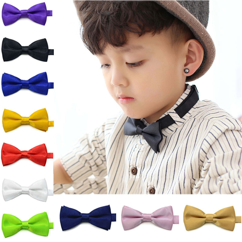New Fashion Children Kids Boys Toddler Infant Solid Bowtie Pre Tied Wedding Bow Tie Necktie H9