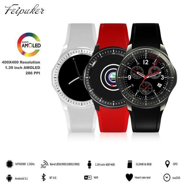На складе 2017 DM368 Bluetooth Смарт Часы Smartwatch 3 Г MTK6580 Android 5.1 Quad Core 512 МБ + 8 ГБ наручные часы с GPS Сердечного ритма