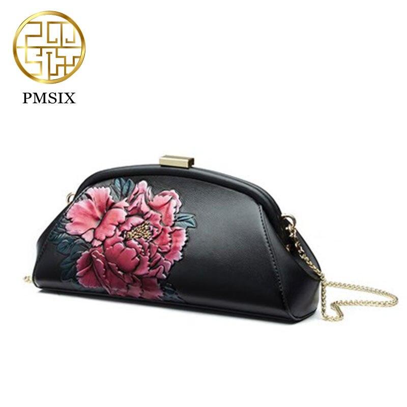 Pmsix кожаный салон тиснением женщины сумка 2018 Новые Модные осенние и зимние китайский стиль сумки на плечо черный P110058