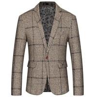 JZ CHIEF Elegant Men Tweed Blazer Fashion Striped jacket Simple Classic Suit For Wedding Coat Flap Pocket One Button Blazer Male