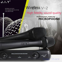 JIY Professional karaoke Dual Wireless Microphone mixer radio handheld HIFI studio Microphone for karaoke computer meeting MIC