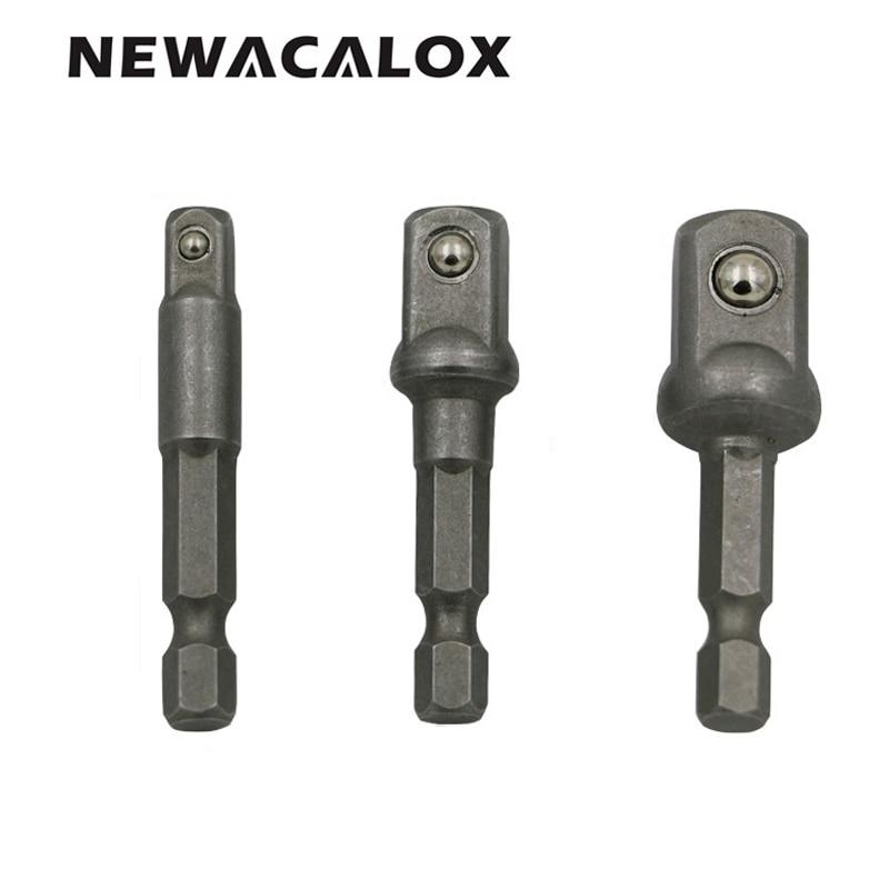 NEWACALOX Power Extension Bit Set for Drills CRV Steel Socket Adapter Set Hex Shank Tools 1/4 3/8 1/2 3pcs/set 3 8 10mm chrome vanadium ratchet wrench 3 8 spanner socket set crv extend handle