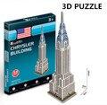 3d puzzle cubicfun arquitetura modelo de papelão brinquedo chrysler edifício mundialmente famoso edifício montagem diy brinquedos para crianças