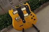 Nuovo arrivo SG doppio collo chitarra elettrica di Vino Rosso Jimmy Page stile 12/6 corde chitarra elettrica di trasporto libero