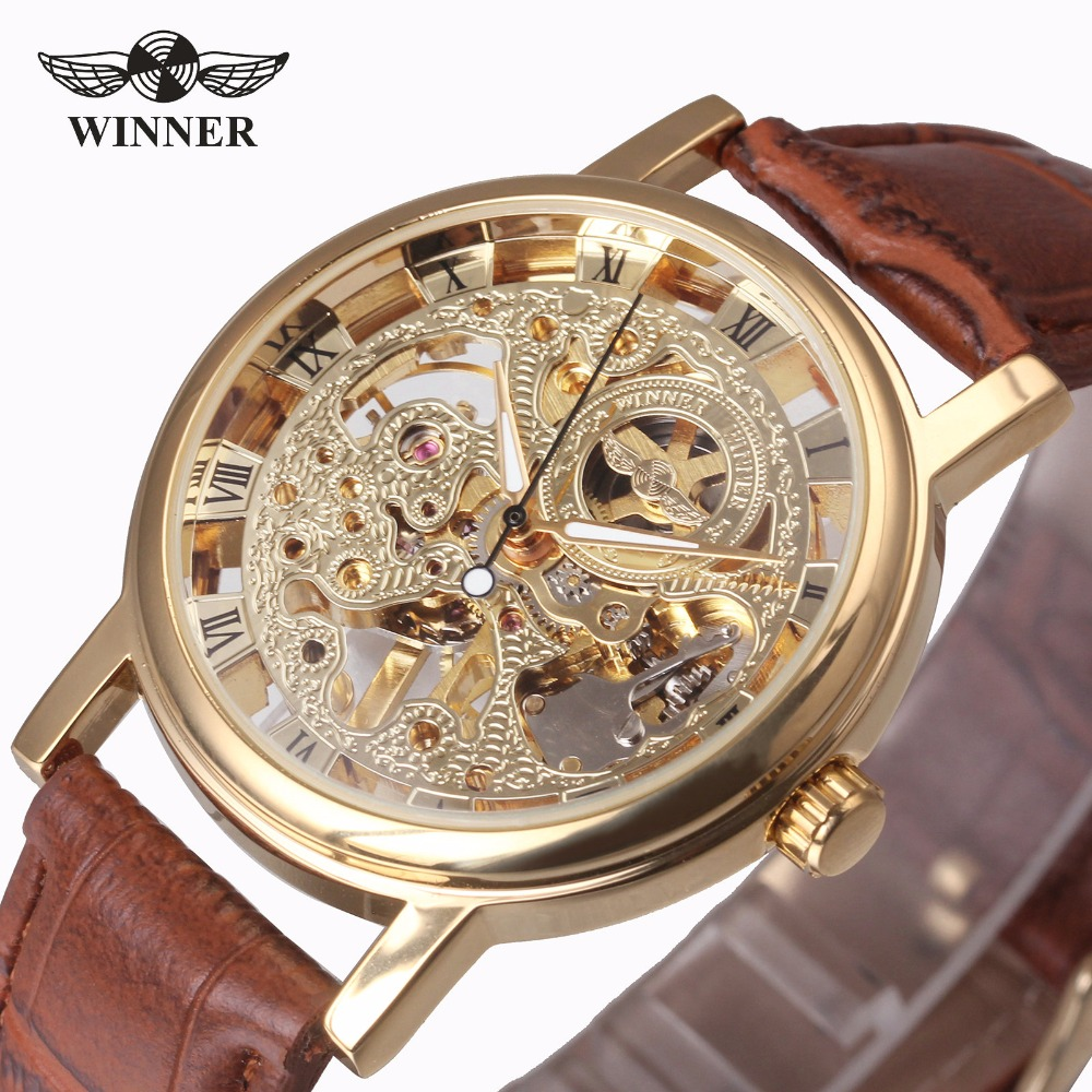 2017 New Hot Sale Skeleton Fashion Mechanical Men Watch Winner Luxury Branded Business Leather Strap Wristwatch CLASSIC GOLD цена и фото