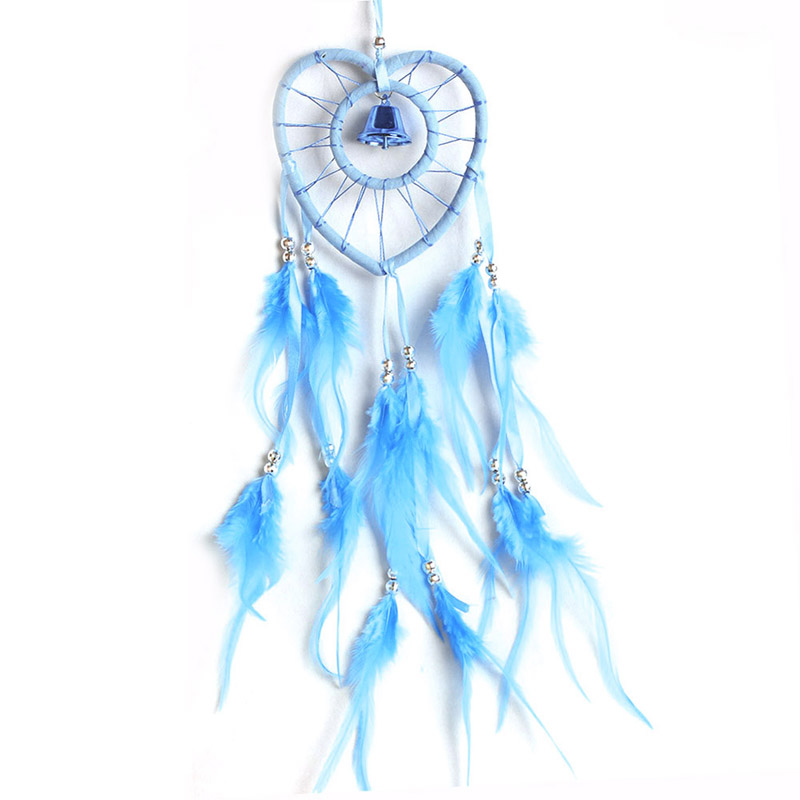 Dream Catcher with Feather Wooden Bead Heart-shaped Handmade Indian Style Wall Home Decoration Ornament Car Pendant  Lake Blue