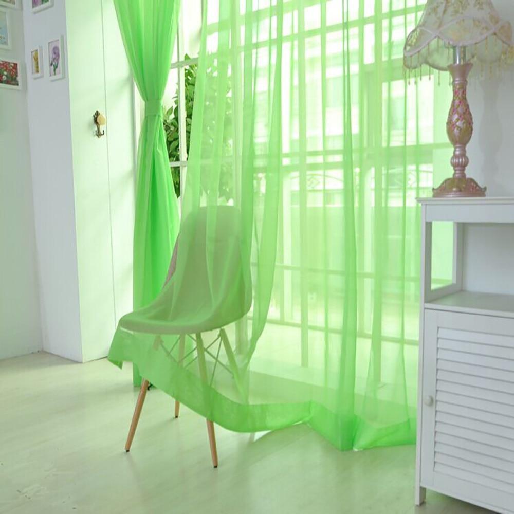 Ouneed 1 Pcs Pure Color Tulle Door Window Curtain Drape