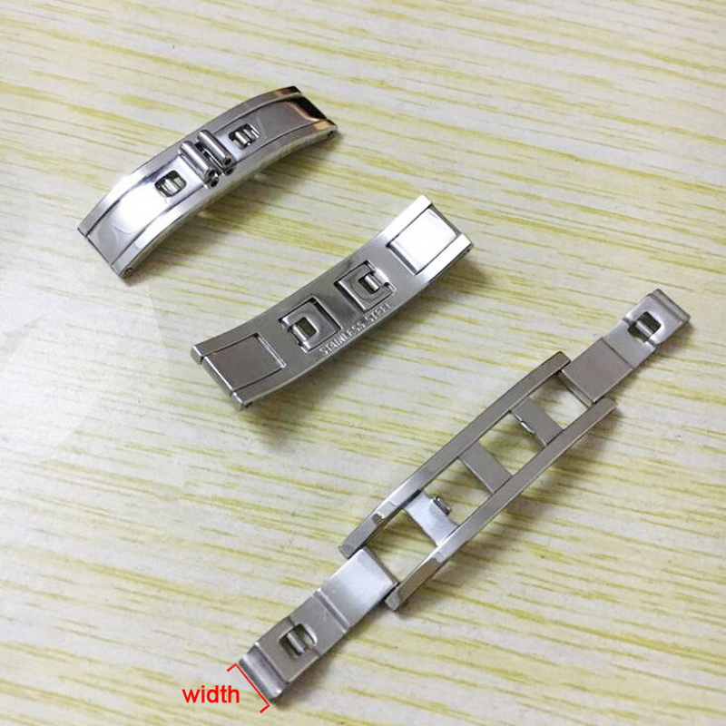 neway 304 Metal Watch Band Buckle 4mm 5mm 6mm Watchband Strap Silver Black Stainless Steel Clasp Butterfly Button Accessories