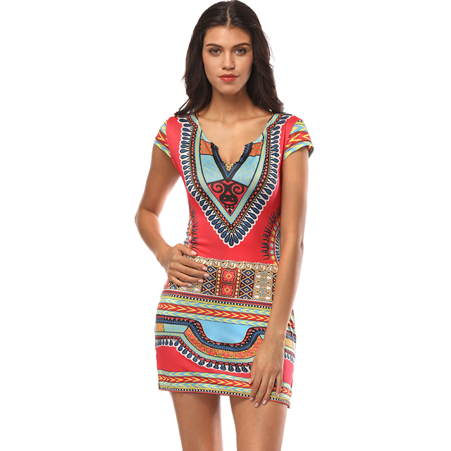 1016929f596 Women Dashiki Dress Summer 2018 Ladies Short V-Neck Sexy African Dresses  Traditional Print Mini