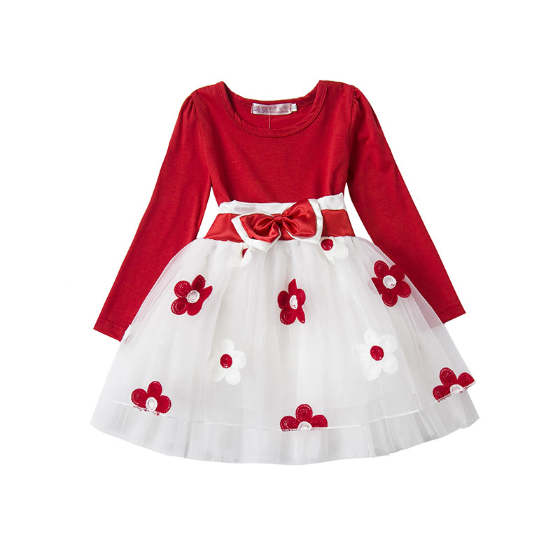 2baa00967bda4 Cute Baby Girl Autumn Winter Dress Infant Toddlers Cotton Long Sleeve  Clothing Little Princess Christmas Party Flower tutu Gown