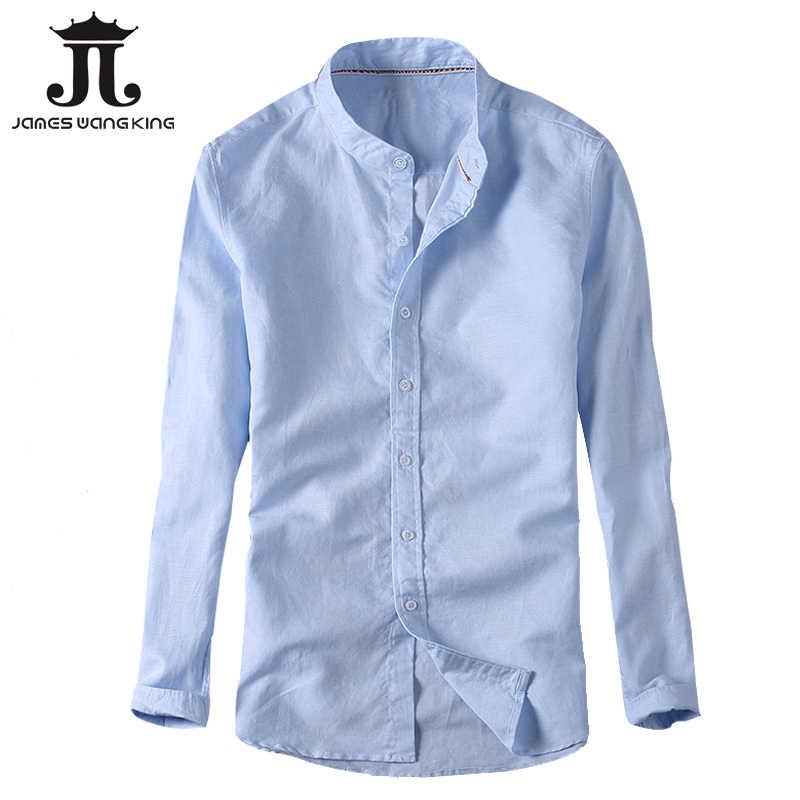 d92ba63abe21e60 Новые льняные рубашки мужские повседневные тонкие однотонные рубашки с  длинным рукавом человек дышащая белая рубашка chemise