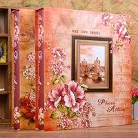 Винтаж interleaf Клейкие ленты фотоальбом 4d 6 дюймов 400 Коробки Семья Ретро дети ребенок растет Ежегодник книга Рамки фото галерея