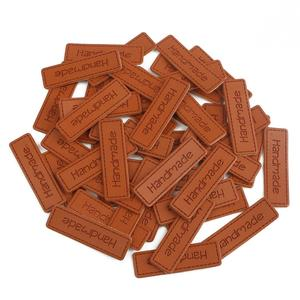 50pcs/lot Handmade PU Leather Labels Handwork Gifts Leather Tags Handmade Sew-on/Glue-on Tags For Toy Shoes Garment Labels