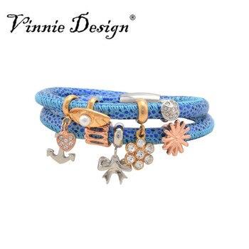 b335decbe6dc Vinnie Design joyería 40 cm doble pulsera de cuero azul con 7 unids sin fin  Amuletos para las mujeres moda joyería